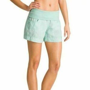 Athleta Teal Glass Blue Lima Linen Foldover Shorts
